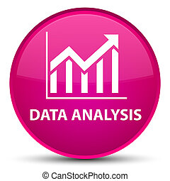 Data analysis (statistics icon) special pink round button
