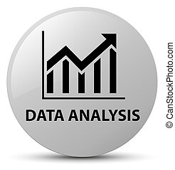Data analysis (statistics icon) white round button