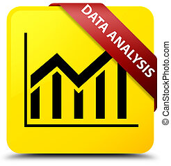 Data analysis (statistics icon) yellow square button red ribbon in corner