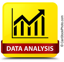 Data analysis (statistics icon) yellow square button red ribbon in middle