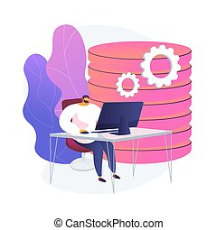 Analytics and data science. Database analysis, statistical report, information processing automation. Datacenter expert making report. Vector isolated concept metaphor illustration