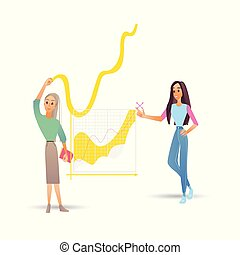 Data analysis vector illustration with two girls near big digital graphics with growing progress.