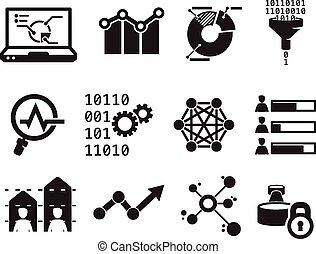 Data analytic icon set BW