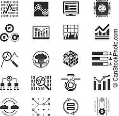 Data analytic monochrome silhouette icons vector illustration