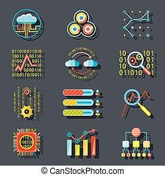 Data Analytic Web Site Server Icons on Stylish Background...