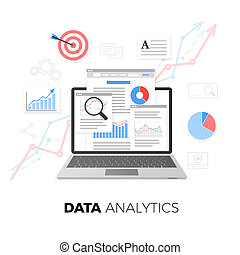 Data analytics concept. SEO optimization. Search Engine Optimization. SEO content marketing. Web analytics design. Vector illustration isolated on white background