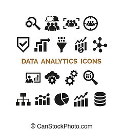 Data analytics icons set on white background. Vector ...