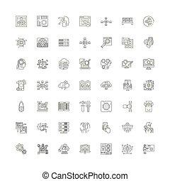Data analytics linear icons, signs, symbols vector line illustration set