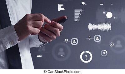 data, anlaysis, op, mobiele telefoon
