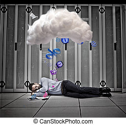 data, arbeider, dromen, van, toepassingen, en, wolk,...