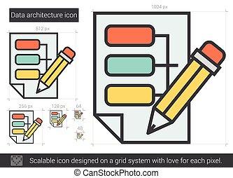 Data architecture line icon.