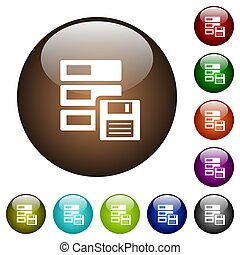 Data backup color glass buttons