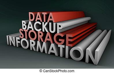 Data Backup Information in 3d Art Sign