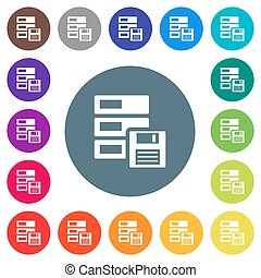 Data backup flat white icons on round color backgrounds
