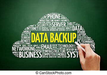 Data Backup word cloud collage