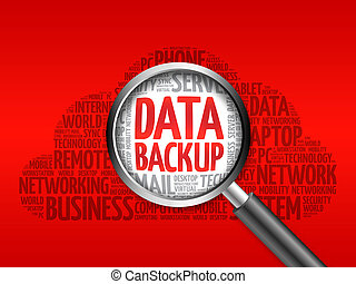 Data Backup word cloud with magnifying glass