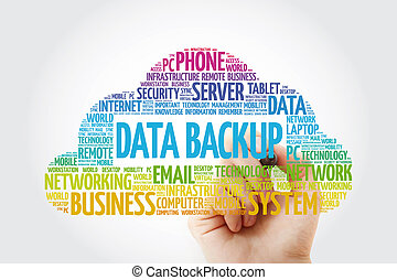 Data Backup word cloud with marker