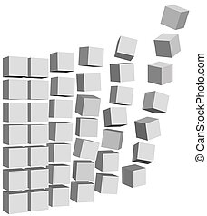 Data Boxes Cartons Fly & Fall Up - Send abstract Cubic...