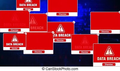 Data Breach Alert Warning Error Pop-up Notification Box On Screen.