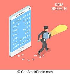Data breach flat isometric vector concept. - Flat isometric...