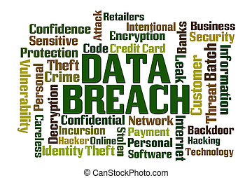 Data Breach Word Cloud with White Background