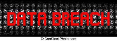 Data Breach text on hex code illustration
