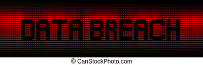 Data Breach text on red laptops background illustration