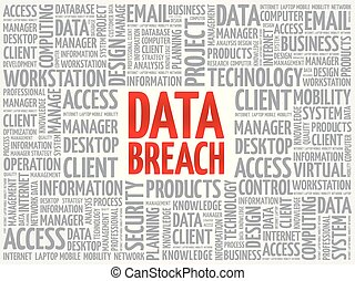 Data Breach word cloud collage, technology business concept...