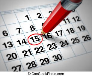 data, calendário
