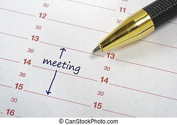 data, calendario, riunione