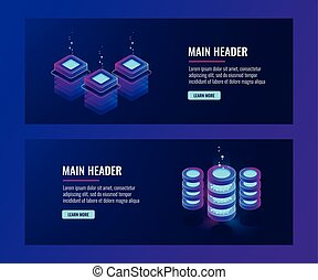 Data center and database banners, server room icons, cloud storage information dark neon isometric