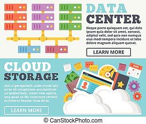 Data center, cloud storage concept