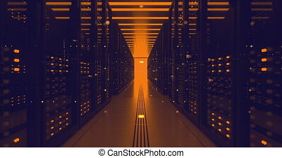 Data Center Computer Racks In Network Security Server Room. CryptoCurrency Mining Farm or Hosting Storage Connected Dots Programming Code And Binary Concept.