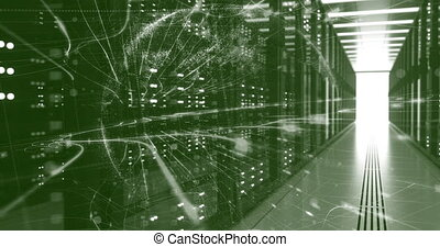 Data Center Computer Racks In Network Security Server Room. CryptoCurrency Mining Farm or Hosting Storage Connected Dots Programming Code And Binary Concept. 3D render dark geen code programing