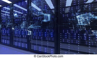 Data Center Computer Racks In Network Security Server Room. CryptoCurrency Mining Farm or Hosting Storage Connected Dots Programming Code And Binary Concept. 3D render dark blue