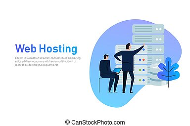 Data center design concept set with hosting servers icons isolated vector flat illustration. business man managing infrastructure of technology