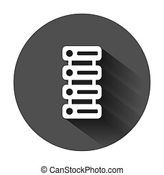 Data center icon in flat style. Server vector illustration on black round background with long shadow. Security business concept.