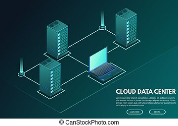 Data center isometric banner with computer and servers