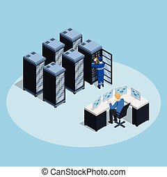 Data Center Isometric Composition