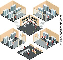Data Center Isometric Composition - Datacenter server cloud ...