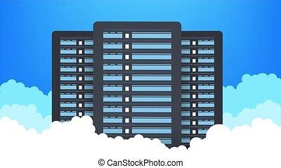 Data center. Mainframe service concept banner, server rack. Server room concept, data bank center. illustration