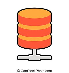 Data center security system protection icon. Vector graphic