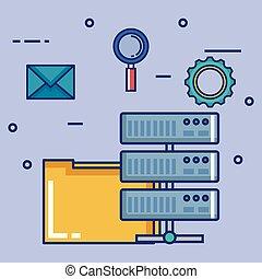 data center set flat icons