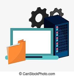 data center setting laptop file
