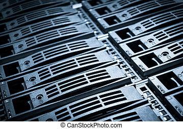 data center - close-up of hard drives in data center