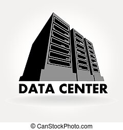 Data Center - stylized illustration of a data center, a ...