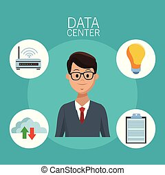 Data center technology and business people vector...