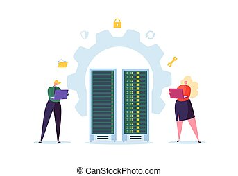 Data Center Technology Concept. Flat People Characters Engineers Working in Network Server Room. Web Hosting Administrator. Vector illustration