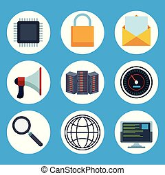 Data center technology round icons