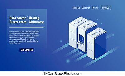 Data center, website hosting, server room rack, mainframe resource, datacenter, database, big data processing isometric vector